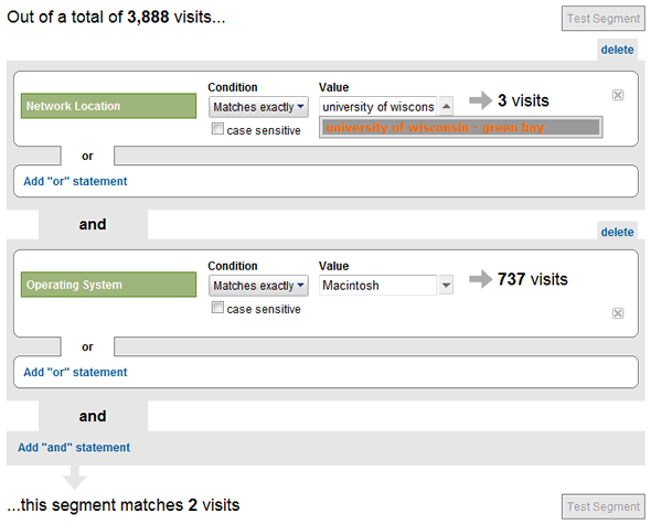 Segmentation in Google Analytics Example