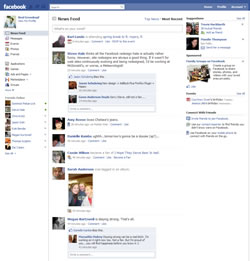 Screenshot of the New Facebook home page